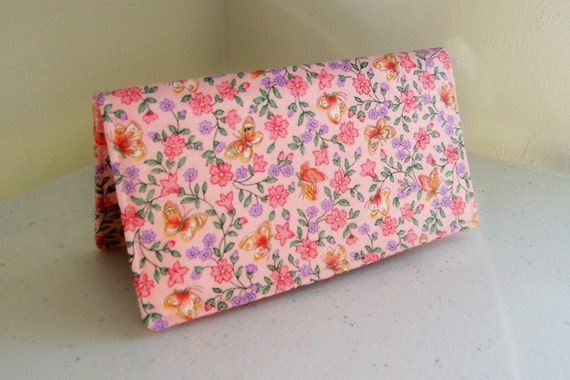 Checkbook Cover  Pink / Lavender Flowers with Butterflies