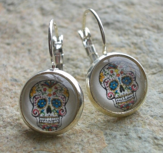 Silver Plated Brass Sugar Skull Earrings