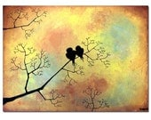 happy love birds - 24 x 18, modern contemporary abstract FINE ART PRINT Valentines day