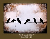 Bird Conversation - HUGE 36 x 24, Heavy Textured Acrylic Earth painting, ready to hang, ORIGINAL and HUGE, One of a Kind