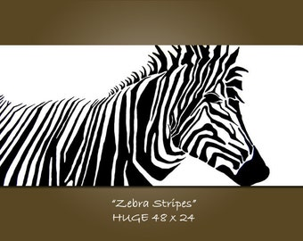 Zebra Stripes - HUGE 48 x 24, Original Acrylic Art PAINTING on canvas, Contemporary Earthy Abstract Animal Art