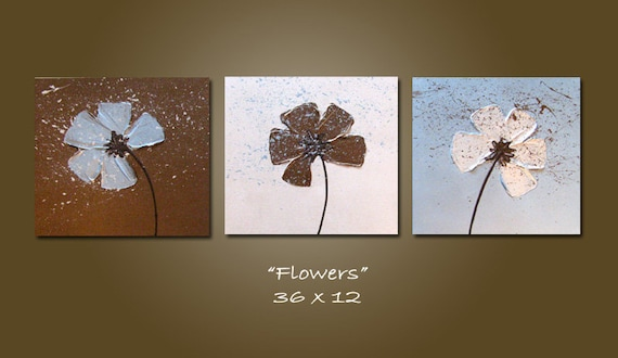 Cyber Monday SALE - Flowers - HUGE 36 x 12, Acrylic painting canvas, gallery wrapped ready to hang, Heavy Textured ORIGINAL
