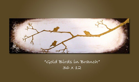 Gold Birds in Branch - 36 x 12, Acrylic painting heavy textured, ready to hang, ORIGINAL, earthy art nature birds
