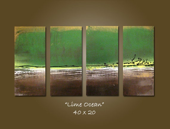SALE - Lime Ocean - 40 x 20, Heavy Textured Acrylic painting, ORIGINAL and HUGE, One of a Kind - Please see close ups