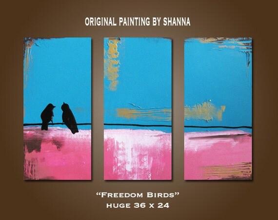 Freedom Birds - HUGE 36 x 24, Heavy Textured, ORIGINAL, Contemporary Abstract Bird PAINTING Art, Valentines Day