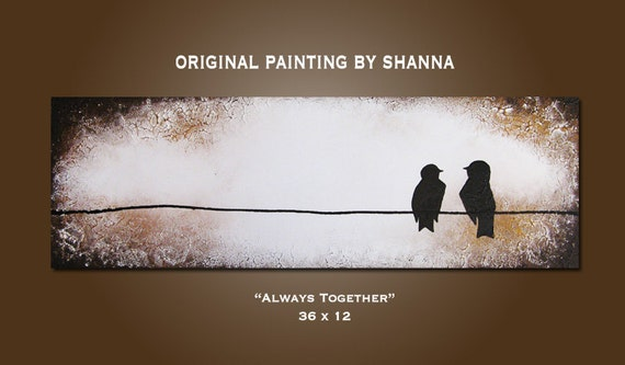 Always Together - HUGE 36 x 12, Heavy Textured Acrylic, gallery wrapped, ORIGINAL, Contemporary Earthy Bird Art