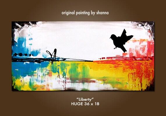 Liberty - 36 x 18, Original Modern Contemporary Acrylic PAINTING canvas, Heavy Textured Abstract Bird Art by Shanna