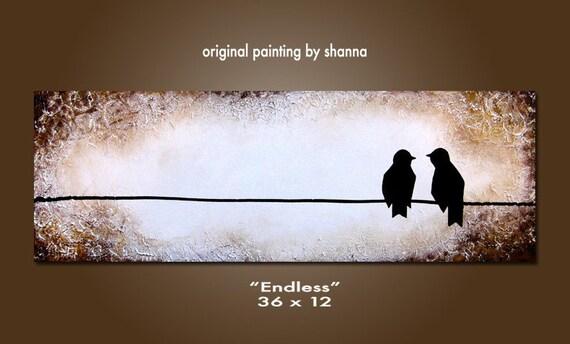 Endless - 36 x 12, Original Modern Contemporary Acrylic PAINTING canvas, Heavy Textured Abstract Bird Art by Shanna