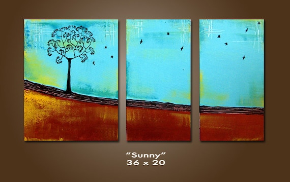 Sunny - HUGE 36 x 20, Heavy Textured Acrylic Art PAINTING on canvas, gallery wrapped, ORIGINAL, Contemporary Tree Art