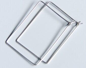 "Rectangle Hoops 1"" x 1.5"" Simple Earrings Sterling Silver Handmade Jewellery"