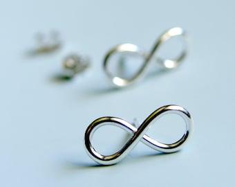 Infinity Symbol Earrings Sterling Silver Infinity Sign Stud Earrings Silver Studs