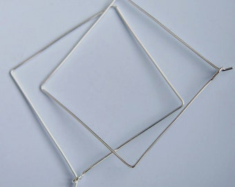 Square Hoops Sterling Silver Square Hoop Earrings 1.5 Inch