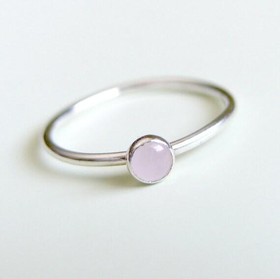 Rose Quartz Ring Sterling Silver Stacking Ring Bezel Set