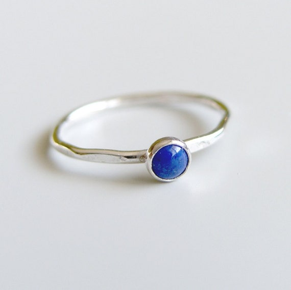 Blue Lapis Lazuli Stacking Ring Sterling Silver Bezel Set Stone