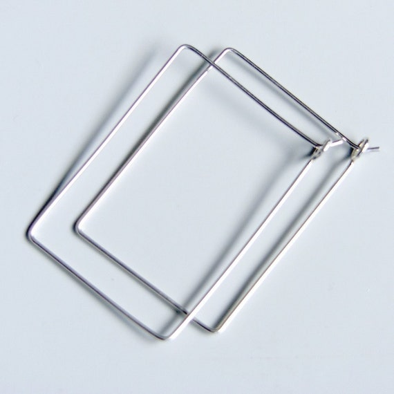 Rectangle Hoops Simple Hoop Earrings Sterling Silver Handmade