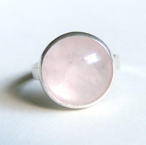 Rose Quartz Ring Sterling Silver Bezel Set Size 8