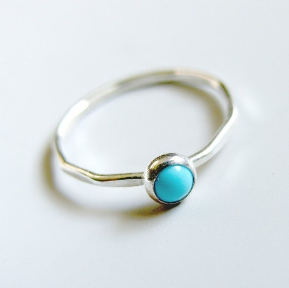 Turquoise Ring Sterling Silver Stacking Ring Bezel Set