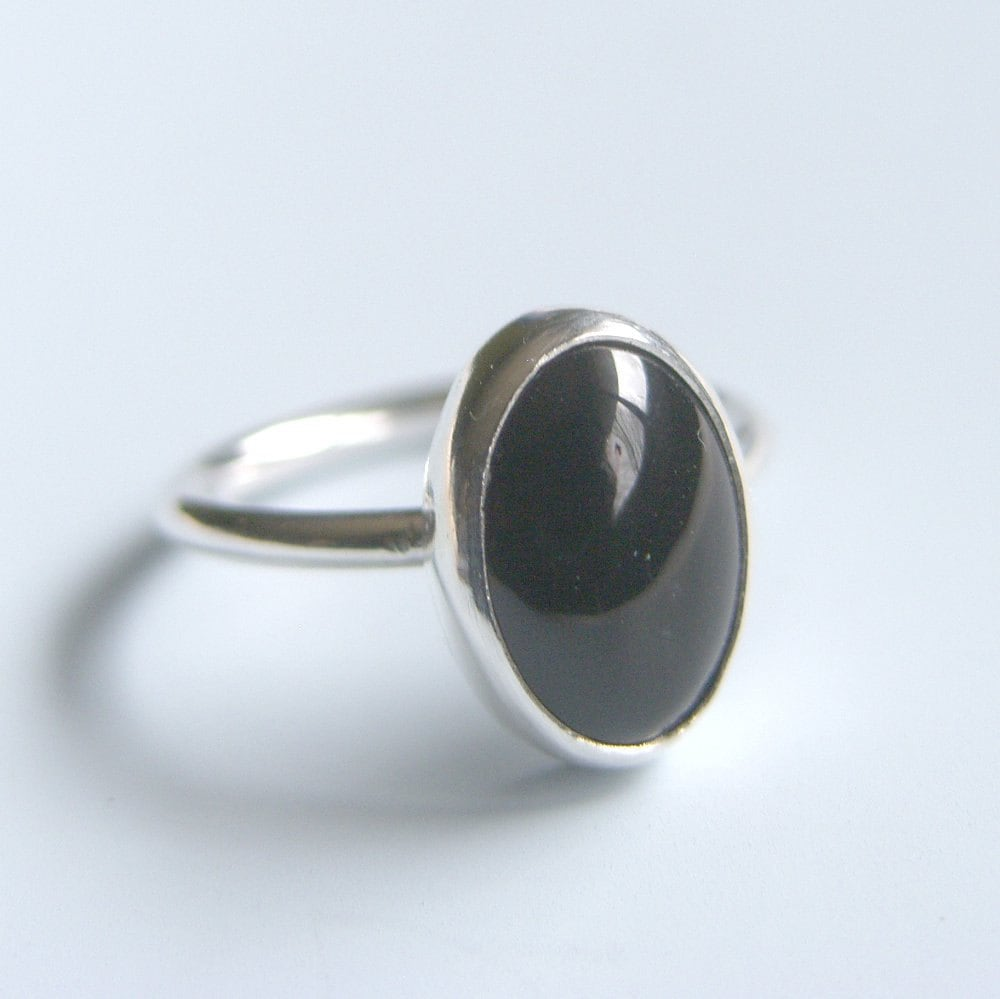 black onyx ring sterling silver ring bezel set oval