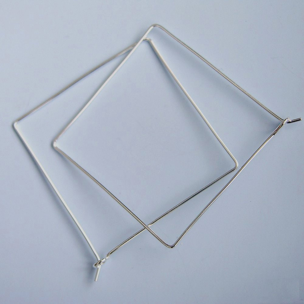 Square Hoops Sterling Silver Square Hoop Earrings 1 5 Inch