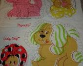 Strawberry Shortcake Pals Pillow Fabric, Pupcake, Lucky Bug, Custard, and Marmalade