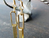 Rectangle chain earrings - goldtone