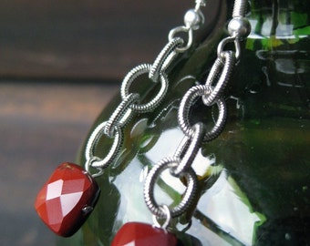 Faceted red jasper pillow bead and bold chain earrings