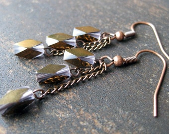 Copper chrome faceted glass dangle earrings