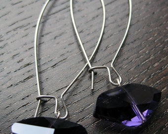 Violet modern cut glass dangle earrings
