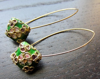 Apple green cloisonne-inspired earrings
