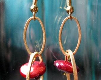 Crimson cultured pearl earrings