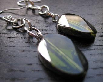 Apple green and chrome dangle earrings