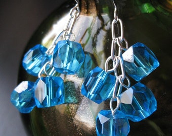 Modern vintage upcycled faceted blue earrings