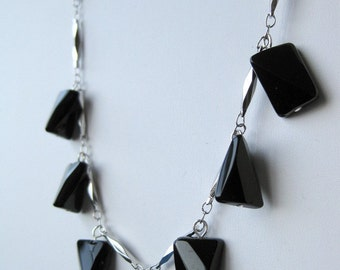 Torsional black glass beads and silver-colored chain necklace