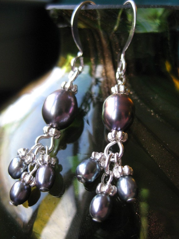 Silver and graphite grey freshwater pearl earrings