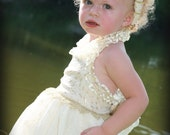 Easter Spring Wedding Flower Girl Dress Ivory Includes Headband