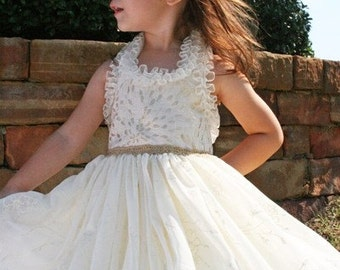 Ivory Flower Girl Dress- Custom Halter-  Brocade Chiffon