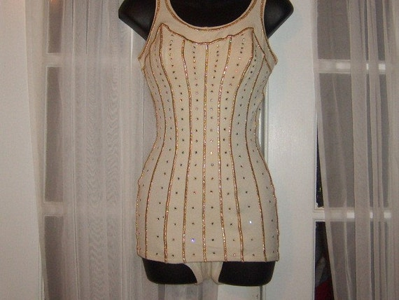 CYBER Monday Sale  Was 399 Now 199 Miss AMERICA Swimsuit DeWeese Designs 50s Fabulous Rhinestones LA California Pin Up