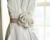 Romantic lace, satin, and chiffon Bridal flower sash or brooch