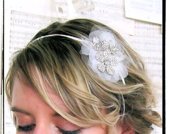 Rhinestone Flower and Tulle bridal headband, comb, or clip