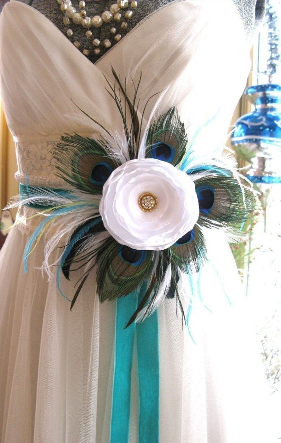 Items similar to beautiful peacock luxe bridal flower sash for Peacock wedding dress sash