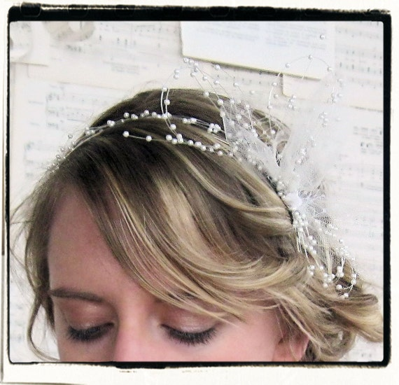 Pearls and Tulle bow bridal headband READY TO SHIP