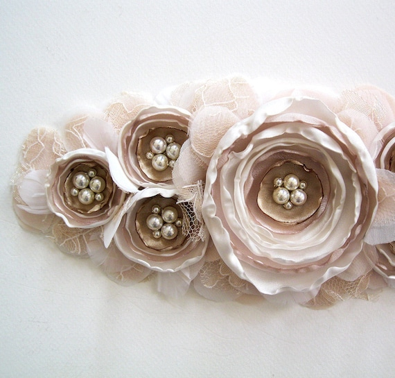 Bouquet bridal flower sash or brooch in blush, nude, champagne, and ivory