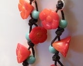 Coral Blossoms on the Vine Earrings
