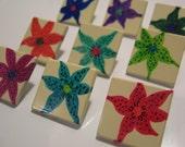 Flower Garden Thumb Tacks/ Push Pins Set of 9 OOAK By MissChuga