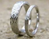 Pair of Personalized Tree Bark Wood Grain Wedding Rings in 14K White Gold with Glossy or Matte Finish