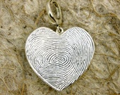 Personalized Heart Shaped Pendant in Sterling Silver with Two Finger Prints