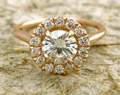Round Moissanite & Diamond Engagement Ring in 14K Rose Gold Halo-Style Setting Size 7 - Other Gems and Colors Available