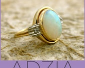 Vintage Two Toned 14k Yellow White Gold White Opal Diamond Ring - Reserved for JONATHAN