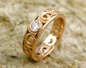 14K Rose Gold Swirly Wedding Band with .10ct Diamond - Wide Scrolls Matte Finish