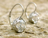 White Zircon Earrings in Handmade Baskets with Scrolls in 14K White Gold